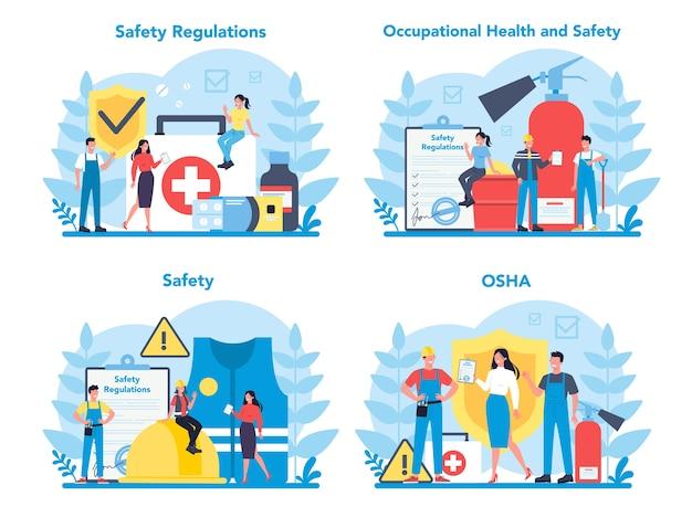 Set di concetti osha. sicurezza sul lavoro e amministrazione della salute. servizio pubblico governativo che protegge i lavoratori dai rischi per la salute e la sicurezza sul lavoro.