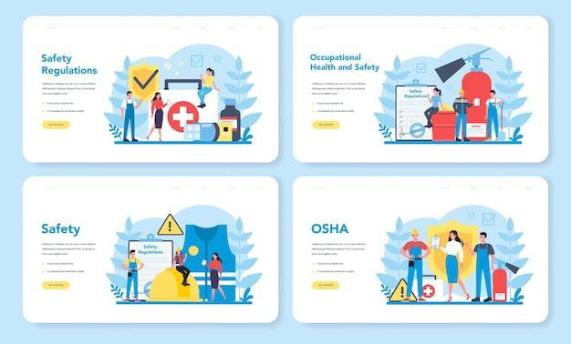 Set di pagine di destinazione web del concetto osha. sicurezza sul lavoro e amministrazione della salute. servizio pubblico governativo che protegge i lavoratori dai rischi per la salute e la sicurezza sul lavoro. illustrazione vettoriale