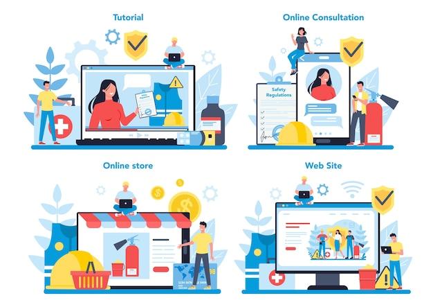 Servizio online osha o piattaforma su un set di concetti di dispositivi diversi. sicurezza sul lavoro e amministrazione della salute. servizio pubblico governativo che protegge i lavoratori.