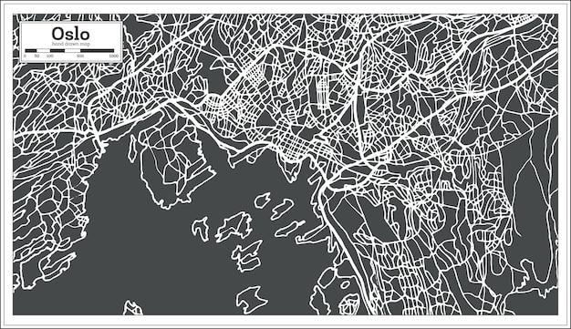 Mappa di oslo norvegia in stile retrò. illustrazione di vettore. mappa di contorno.