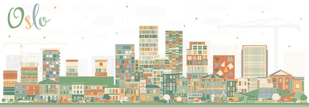 Orizzonte di oslo norvegia con edifici di colore.