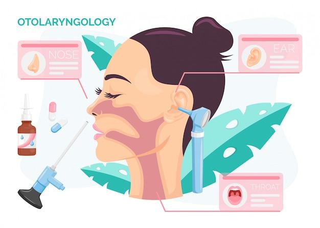Concetto di otorinolaringoiatria. donna che subisce il trattamento dell'orecchio, del naso o della gola presso la clinica orl, illustrazione isolata in stile piatto del fumetto.