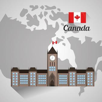 Costruzione del parlamento di ottawa sulla mappa del canada