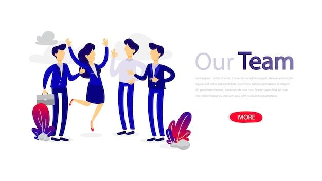 Il nostro team progetta il modello di banner orizzontale per la pagina web. design reattivo per il sito web. design reattivo dell'app. contattaci e scopri di più. appartamento isolato
