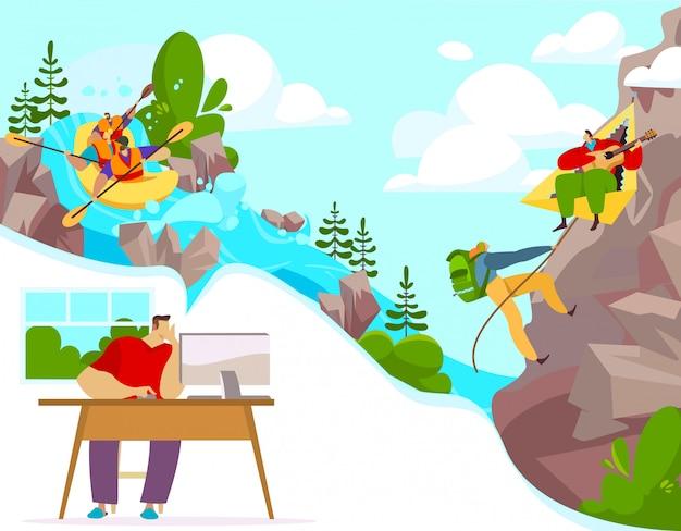 Attività all'aperto e sport estremi, personaggi dei cartoni animati della gente rafting e arrampicata, illustrazione