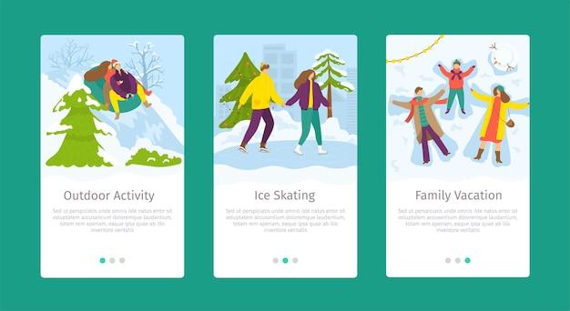 Pattinaggio sul ghiaccio di attività all'aperto e modello web di smartphone per le vacanze invernali in famiglia