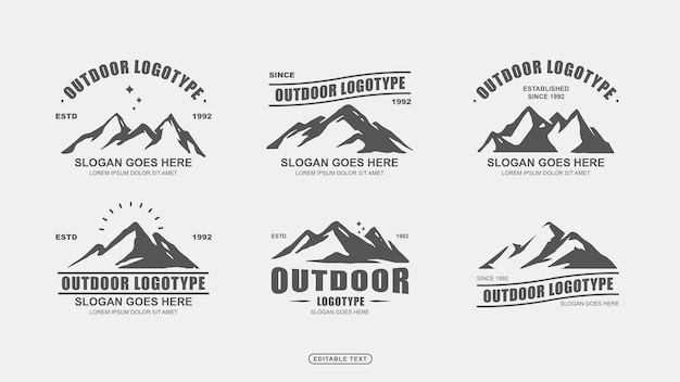 Collezione di modelli di logo di avventura all'aria aperta