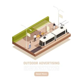 Banner isometrico pubblicitario all'aperto con vista sulla fermata del tram della città