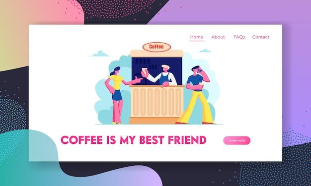 Pagina di destinazione del sito web di caffè all'aperto