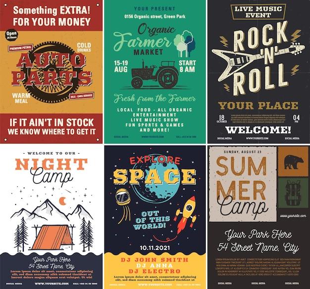 Set di volantini per campeggio e musica rock all'aperto, formato a4. progettazione grafica di manifesti di avventura. vettore