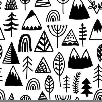 Modello senza saldatura campeggio all'aperto. usa sfondo, carta da parati, involucro, stampe per le vacanze, album. stampa di superficie selvaggia in bianco e nero in stile tribale.