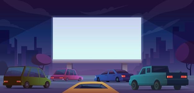 Cinema all'aperto. guida le persone del cinema pubblico che guardano film dal paesaggio dei cartoni animati di autovetture vettoriali. illustrazione dello schermo del cinema, intrattenimento cinematografico all'aperto