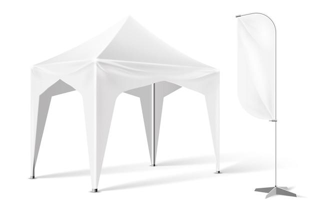 Tenda espositiva all'aperto con illustrazione bandiera banner