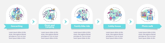 Modello di infografica attività familiari all'aperto