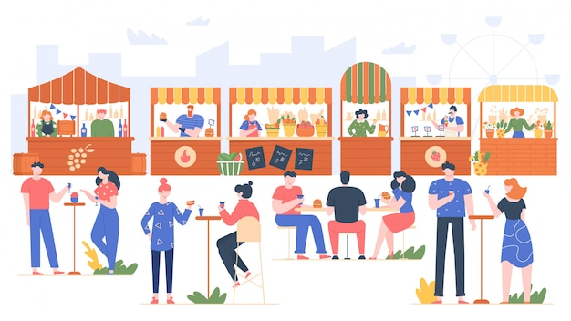 Fest di cibo all'aperto. persone nel fast food, visitando il parco con la famiglia e gli amici. i personaggi che mangiano nel caffè della via, la gente amichevole all'aperto ricreano l'illustrazione. contatori di frutta e verdura