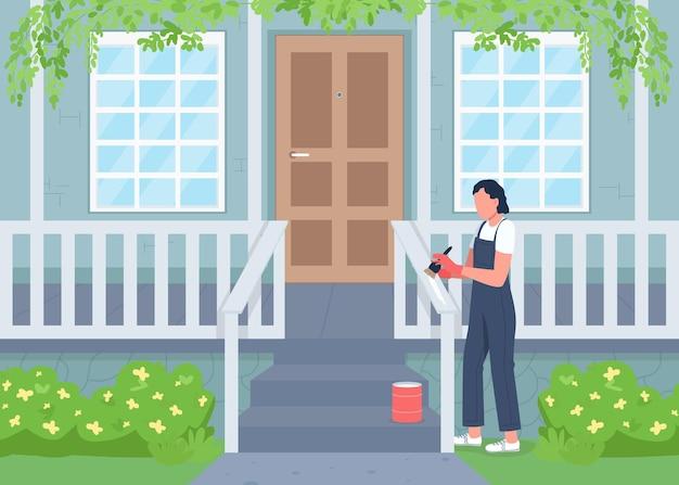 Casa all'aperto rinnovando il colore piatto. pulizie primaverili, lavori domestici. donna che dipinge recinzione sul personaggio dei cartoni animati 2d del portico con esterno di casa residenziale