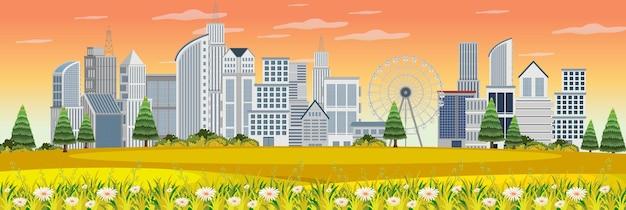 Paesaggio all'aperto con vista urbana dal parco