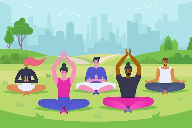 Illustrazione vettoriale piatto di meditazione all'aperto. uomini e donne sorridenti in personaggi dei cartoni animati di abbigliamento sportivo. giovani felici che si siedono nella posa del loto. attività all'aria aperta, esercizi di yoga, relax nel parco