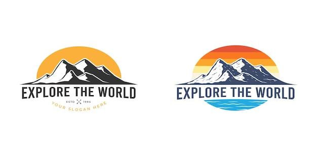 La montagna all'aperto esplora il design del logo Vettore Premium