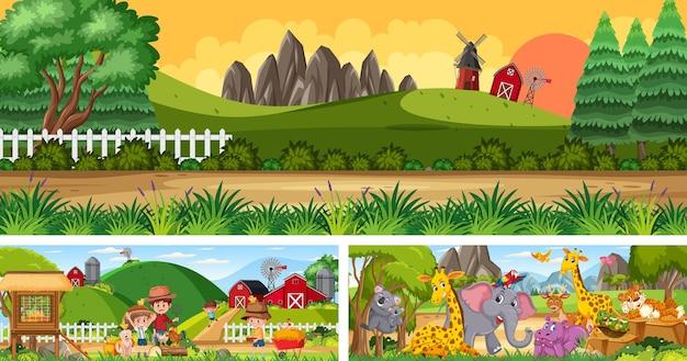 Scene di paesaggi panoramici all'aperto con personaggi dei cartoni animati
