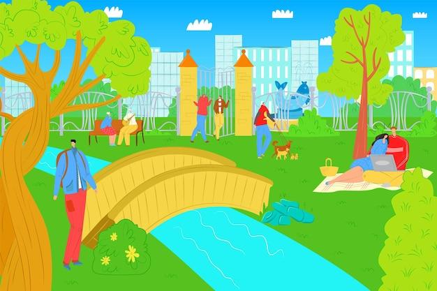 Parco all'aperto con persone, illustrazione vettoriale. resto del carattere della donna dell'uomo nel parco, tempo libero per lo stile di vita della città, coppia felice al picnic estivo.