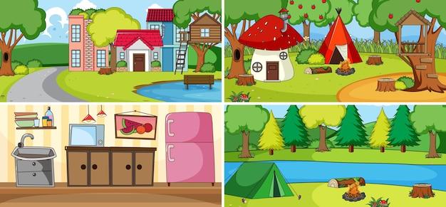 Scena all'aperto con molti bambini doodle personaggio dei cartoni animati