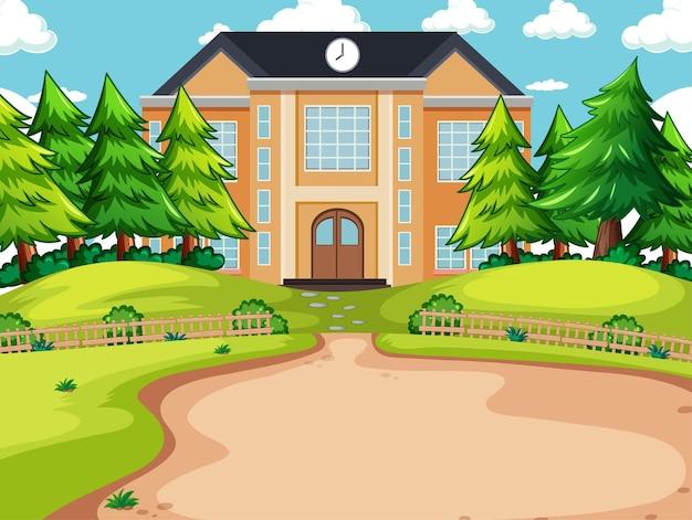 Scena all'aperto con edificio scolastico ed elementi della natura
