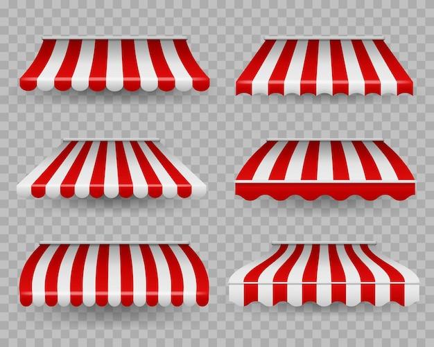 Tenda a strisce per esterni per bar e vetrine di diverse forme