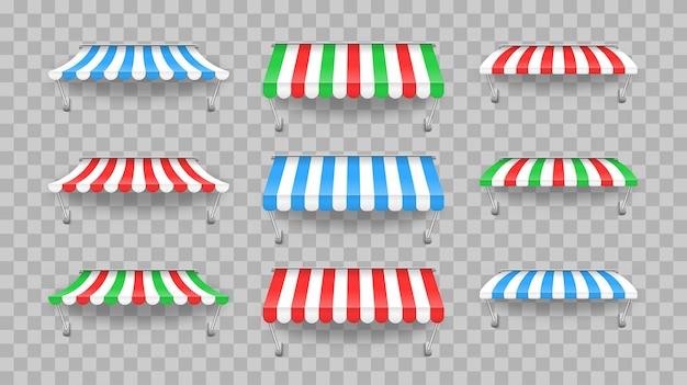 Tendalino per esterno a strisce per bar e vetrine di diverse forme