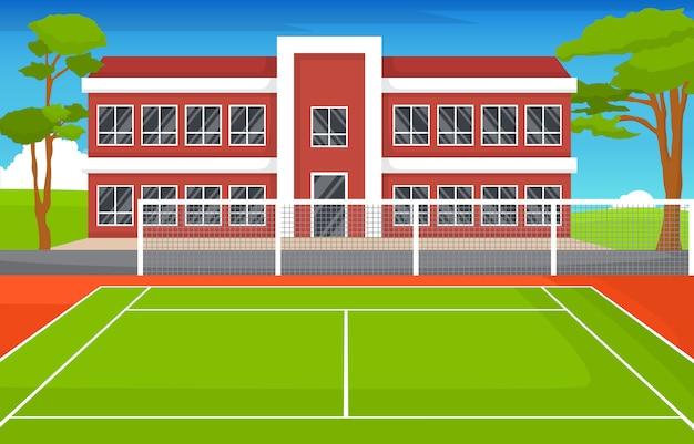 Paesaggio all'aperto dell'hotel della scuola del fumetto di ricreazione del gioco di sport del campo da tennis