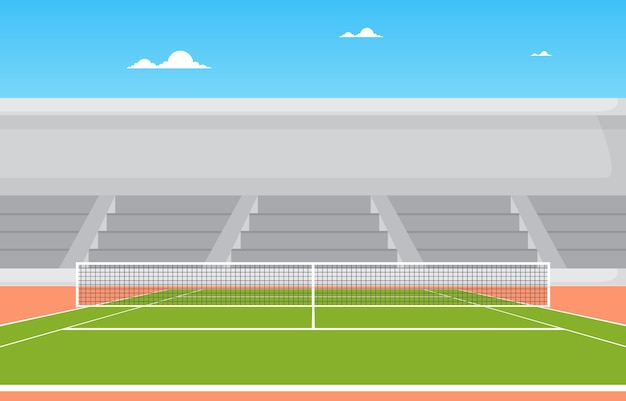 Il campo da tennis all'aperto sta il paesaggio del fumetto di ricreazione del gioco di sport