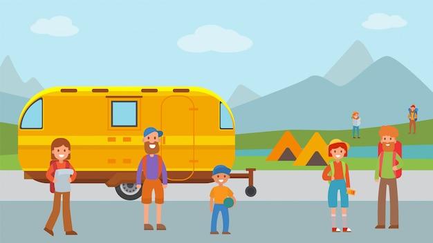 Casa mobile di viaggio all'aperto, illustrazione piana di vettore del parco naturale di resto del carattere di attività. ricreazione della foresta nazionale.