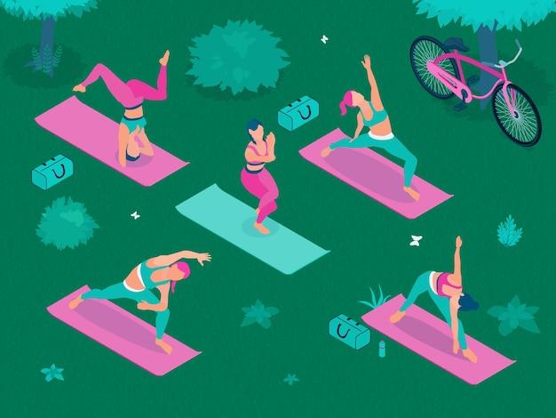 Poster isometrico di yoga all'aperto con giovani donne in pose yoga nella zona del parco