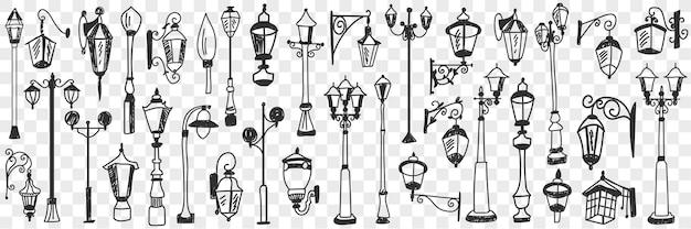 Insieme di doodle di lampade vintage all'aperto