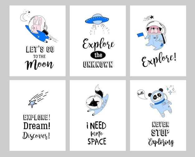 Illustrazione di concetto di spazio esterno. astronauti di simpatici animali in caschi