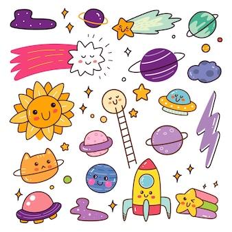 Oggetto nello spazio esterno kawaii doodle set