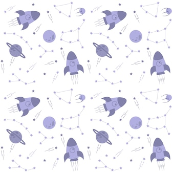 Modello dello spazio esterno con stelle, razzi, pianeti e costellazioni