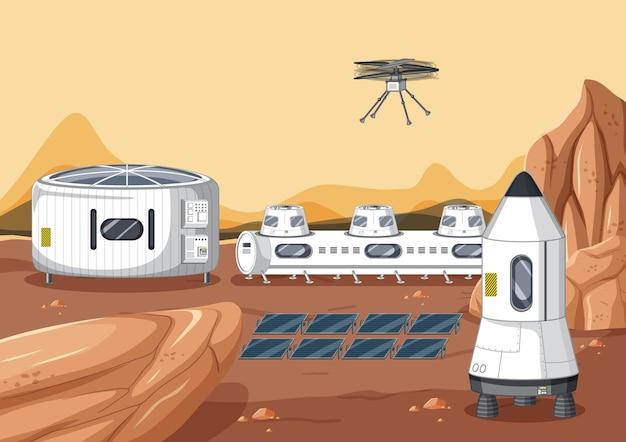 Scena dello spazio esterno con stazione spaziale
