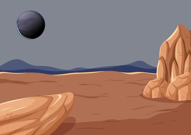Paesaggio di superficie dello spazio esterno con pianeta