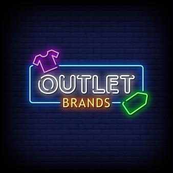 Testo di stile di insegne al neon di marche di outlet