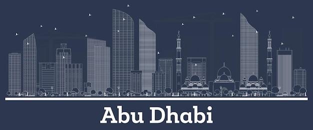 Delineare lo skyline della città di abu dhabi emirati arabi uniti con edifici bianchi
