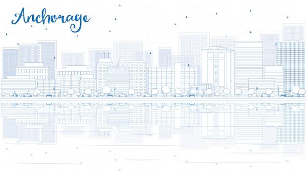 Delineare lo skyline di anchorage con edifici blu.