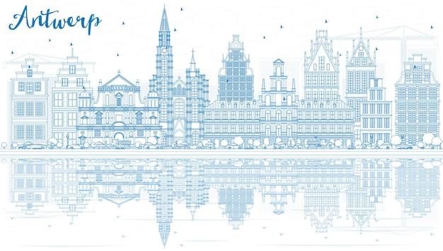 Profilo dello skyline di anversa con edifici blu e riflessi. illustrazione di vettore. viaggi d'affari e concetto di turismo con architettura storica. immagine per presentazione banner cartellone e sito web.