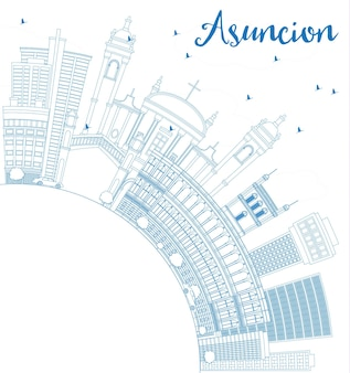 Profilo dello skyline di asuncion con edifici blu e spazio di copia. illustrazione di vettore. viaggi d'affari e concetto di turismo con architettura moderna. immagine per presentazione banner cartellone e sito web.