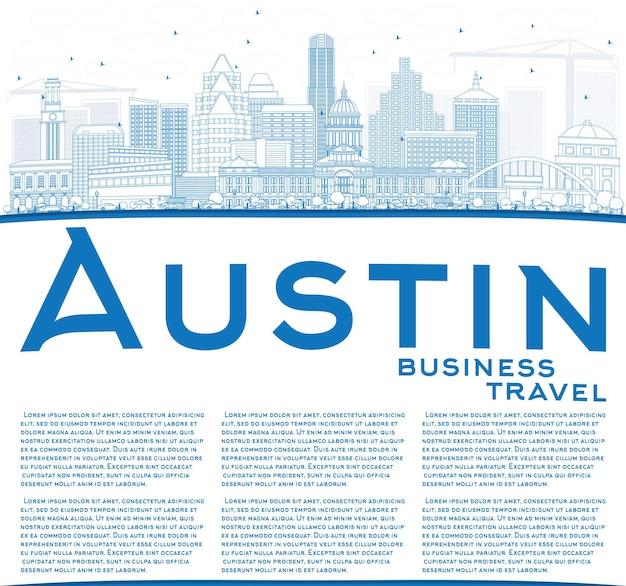 Profilo dello skyline di austin con edifici blu e spazio di copia. illustrazione di vettore. viaggi d'affari e concetto di turismo con architettura moderna. immagine per presentazione banner cartellone e sito web.