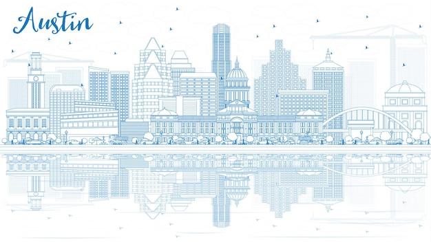 Profilo dello skyline di austin con edifici blu e riflessi.