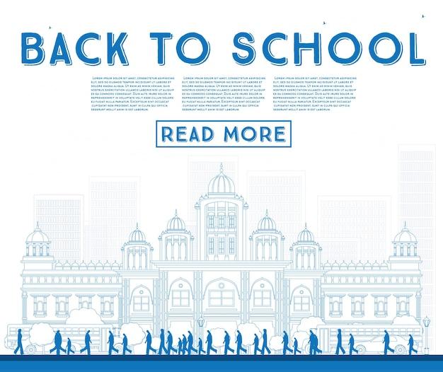 Schema ritorno a scuola. banner con scuolabus, edificio e studenti. illustrazione di vettore.
