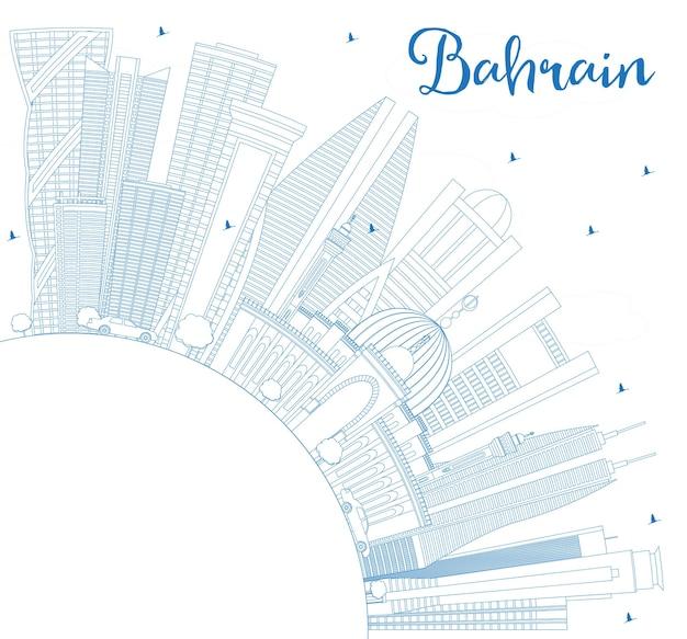 Profilo dello skyline della città del bahrain con edifici blu e spazio di copia. illustrazione di vettore. viaggi d'affari e concetto di turismo con architettura moderna. paesaggio urbano del bahrain con punti di riferimento.