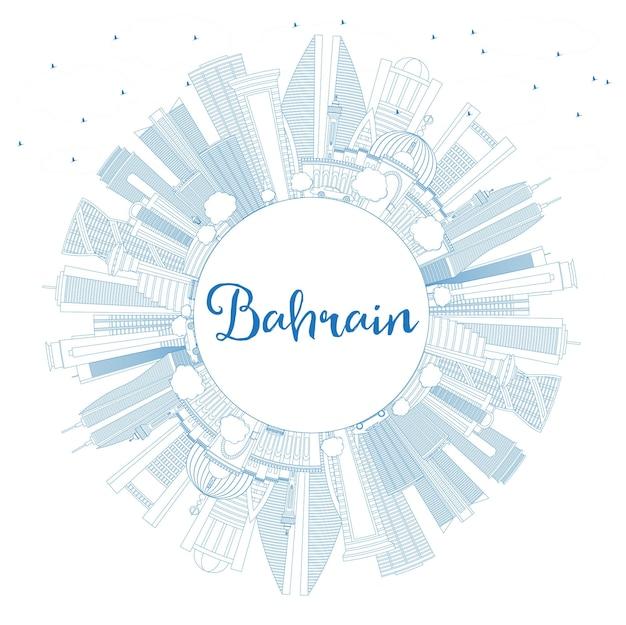 Profilo dello skyline della città del bahrain con edifici blu e spazio di copia. illustrazione di vettore. viaggi d'affari e concetto di turismo con architettura moderna. paesaggio urbano del bahrain con punti di riferimento. Vettore Premium