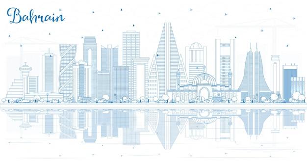 Profilo dello skyline della città del bahrain con edifici blu e riflessi. illustrazione di vettore. viaggi d'affari e concetto di turismo con architettura moderna. paesaggio urbano del bahrain con punti di riferimento.